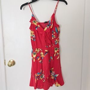 EXPRESS Red Floral Spaghetti Strap Dress